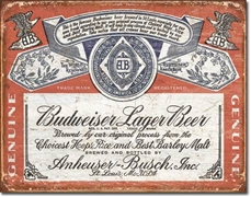 Budweiser Historical Label Tin Sign