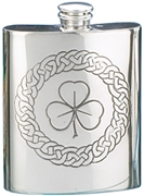 Shamrock Pewter Flask