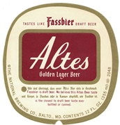 Altes Golden Lager Beer Label