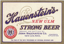 Hauenstein's New Ulm Strong Beer Tax Paid Label