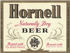 Hornell Naturally Dry Beer Label