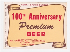 100th Anniversary Premium Beer Label