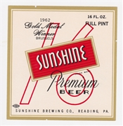 Sunshine Premium Beer 1962 Gold Medal Winner Beer Label