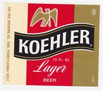 Koehler Lager Beer Label