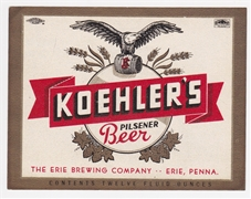 Koehler's Pilsener Beer Label
