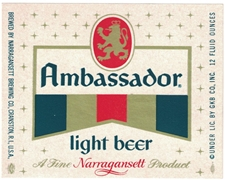 Ambassador Light Beer Label