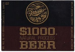 Miller $1000 Natural Process Beer Label