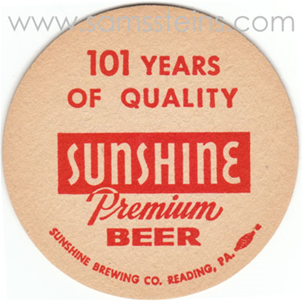 Sunshine 101 Years Beer Coaster
