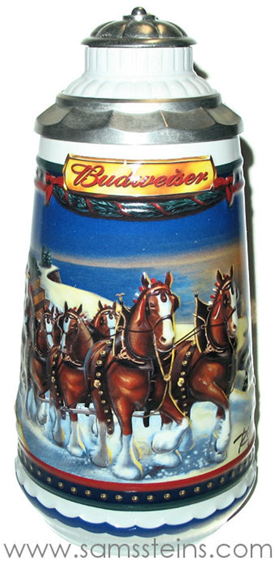 2002 Budweiser Holiday Guiding The Way Home Signature Edition Stein
