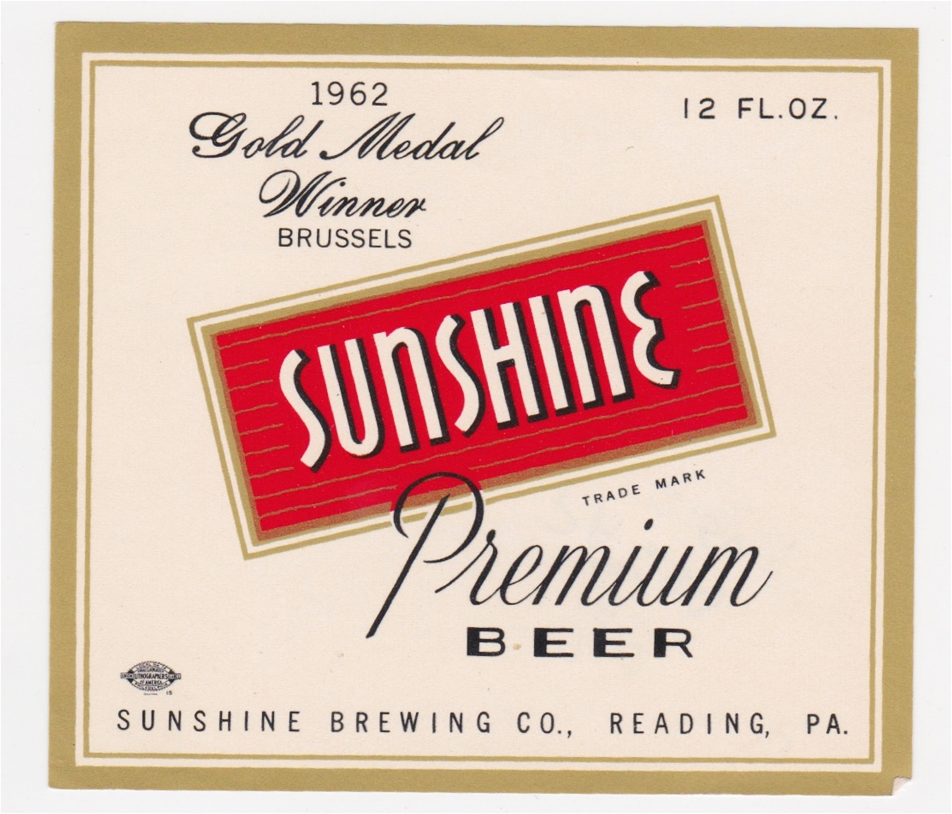 Sunshine Beer 1962 Gold Medal Winner Beer Label